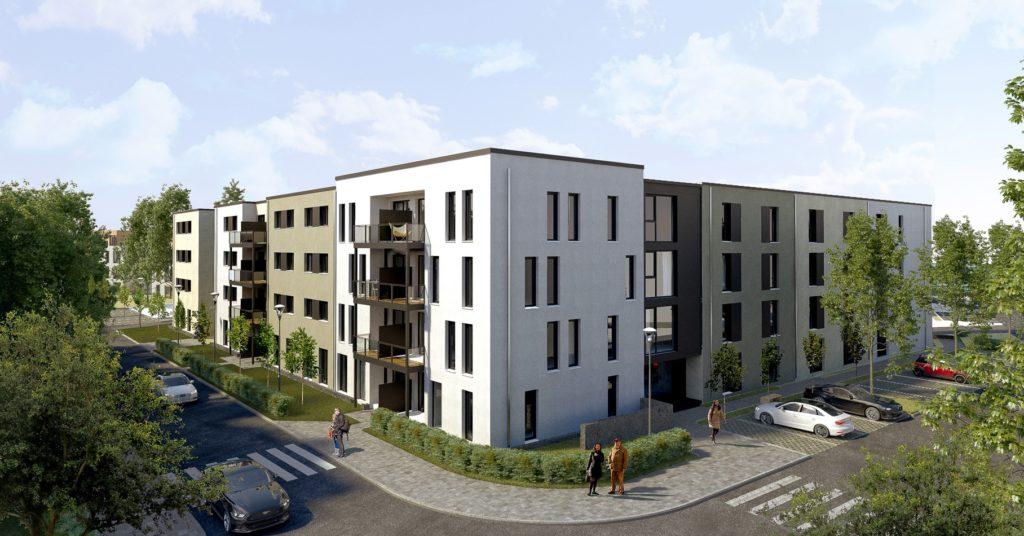 Moderne Mehrfamilienhäuser mit großen Balkone nahe der Westfahlenhalle